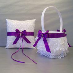 Purple Wedding Bridal Flower Girl Basket and Ring by evertonbridal, $50.00