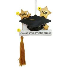 Our graduation cap ornaments make great gifts! Decorate your cap with your grad's name! Graduation Cap and Diploma with Gold Tassel Ornament Personalized Graduation Gifts, College Graduation Gifts, Personalized Ornaments, Graduation Ornament, Old World Christmas Ornaments, Hard Work And Dedication, How To Make Ornaments, Tassels, Hanger