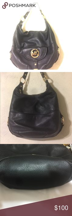 Michael Kors purse Like new soft leather Black Michael Kors purse with gold colored hardware. Outside front has a pocket with a flap and magnet closure, backside has a pocket towards the bottom. The inside has a total of 5 pockets on the sides. The top closure is a zipper. There are no rips or tears. The bag measures 12 inches high by 15 inches wide. The strap is 16inches long. Michael Kors Bags