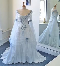 Vintage Celtic Wedding Dresses White and Pale Blue Colorful Medieval Bridal Gowns Scoop Neckline Corset Long Bell Sleeves Appliques Flowers, 429 Irish Wedding Dresses, Fairy Wedding Dress, Wedding Veil, Fairy Dress, Wedding Tuxedos, Modest Wedding, Wedding Outfits, Mermaid Wedding, Butterfly Wedding Dress