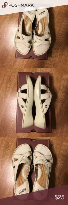 Born leather sandals in Pearl color Lightly used Born leather sandals in pearl color, very good condition, comes with box, smoke free Born Shoes Sandals