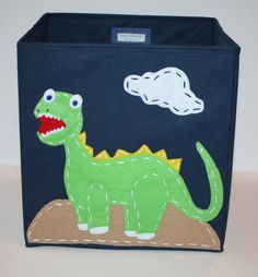 Kids Storage Bin, Toy Storage, Boy Room Decor, Dinosaur, Navy