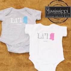 How adorable are these new onesies? Li'l MS (Mister) & Li'l MS (Miss) Order online today at www.TheMississippiGiftCompany.com/kids-tshirts.aspx now!