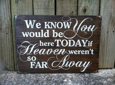 "We Know You Would Be Here Today, If Heaven Weren't So Far Away- 11""x16"" Hand…"