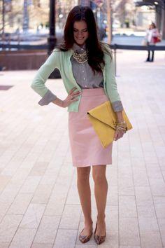 Pink skirt, mint sweater