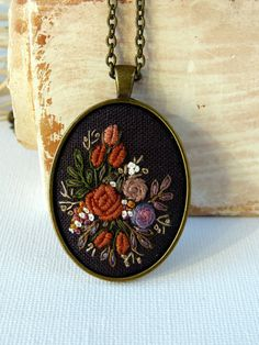 Bronze flower necklace. Hand embroidered by EmbroideredJewerly