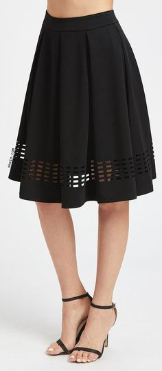 Black Laser Cutout Hem Box Pleated Skirt