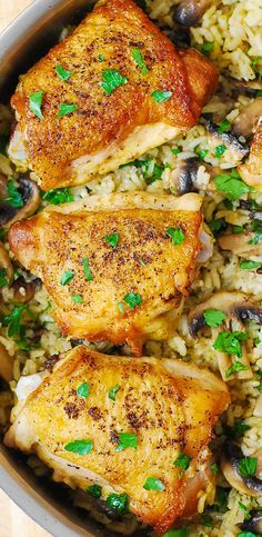 One-Pan Chicken Thighs with Mushroom Rice.