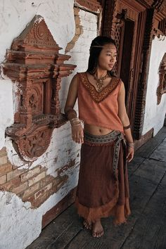 Tribal Raw Silk top with Embroidery made of Raw by AnuttaraCrafts