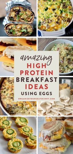 Amazing High Protein Breakfast Ideas Using Eggs | Egg Breakfast Recipes - looking for some delicious breakfast recipes that are filled with protein to help you stay full and satisfied all morning? Here are my favorite high protein breakfast ideas using eggs that are quick and easy, and you can meal prep in advance for busy mornings! Organize Yourself Skinny | Easy Breakfast Recipes for Weight Loss | Egg Recipes for Breakfast | Healthy Breakfast Ideas Meal Planning #mealprep #mealplan… High Protein Breakfast, Egg Recipes For Breakfast, Healthy Breakfast On The Go, Delicious Breakfast Recipes, Eat Breakfast, Breakfast Ideas, Brunch Recipes, Healthy Freezer Meals, Healthy Meal Prep