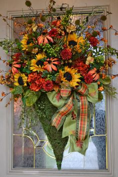 Fall Decorating Idea: Fabulous Fall Floral Door Pocket by Kristen's Creations