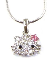 "SYM's Small Kitty 1/2"" Crystal Pendant and Necklace - Pink Flower Bow - $15.00"