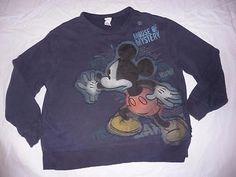 Disney store womens  XL blue fade Mickey Mouse sweatshirt shirt top Florida Cali