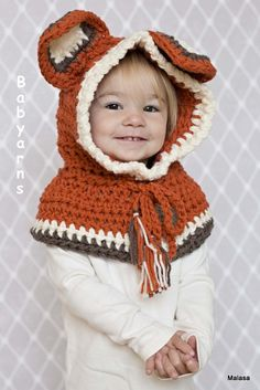 Childrens FOX Hat Hand Crochet Knit HOODIE Cape Scarf Animal Baby Hat Fashion Childrens Preteen Kids Unisex The Perfect Winter GIFT on Etsy, $35.00