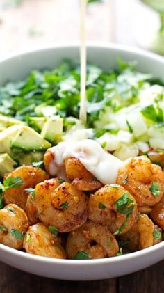 Shrimp and Avocado Salad with Miso Dressing: w/ cucumbers, kale/spinach, coriander, ginger, garlic, lime juice
