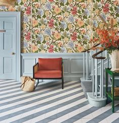 Scenic Wallpaper, Textured Wallpaper, Flower Wallpaper, Hallway Wallpaper, How To Hang Wallpaper, Ideal Home Magazine, House And Home Magazine, Painted Stairs, Painted Floors