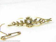 Mujer-15ct-Oro-Diamante-Y-Perla-Broche