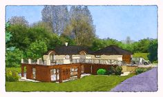 sketch of a family house Home Fashion, Studios, Sketches, Mansions, House Styles, Pictures, Design, Home Decor, Mansion Houses