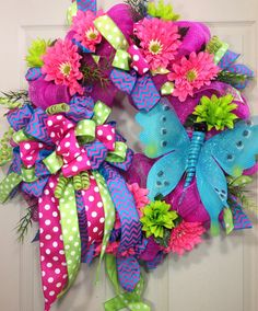 Spring /Summer Mesh Wreath by WilliamsFloral on Etsy, $105.00