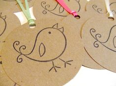 Baby Birds Set of 10 Gift Tags by prettypetalspaper