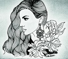 Side volume hairstyle with heavy chandelier earring and peonies