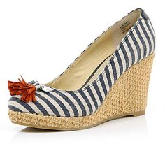 Jubilee - BLUE STRIPE CANVAS WEDGES from River Island