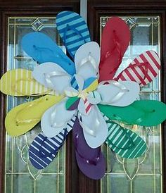 Handmade Colorful Flip Flop Daisy Flower Door Wall Decor Wreath Beach Cabin