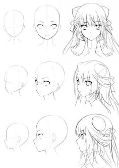 anime girl head drawing – – Cheveux – Dessin - Anime World 2020 Manga Drawing Tutorials, Manga Tutorial, Drawing Techniques, Manga Girl Drawing, Anime Face Drawing, Little Girl Drawing, Anime Drawings Sketches, Anime Sketch, Art Drawings
