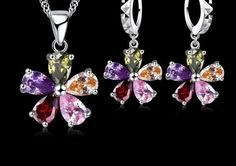 Five Petaled Flowers Shining - Colorful CZ Crystal Pendant Jewelry Set