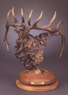 Songs of Autumn bugling elk bronze artist, Jerry McKellar featured at Spirits in the Wind Gallery www.spiritsinthewindgallery.com