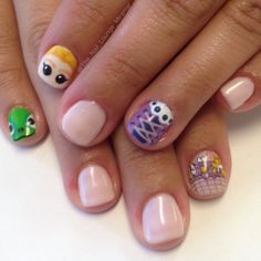 Disney tangled rapunzel cute nail art design