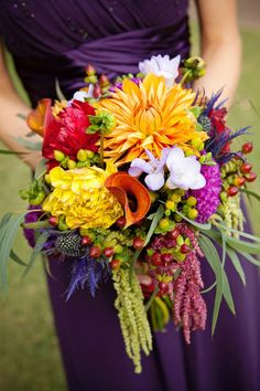 Texture! Wedding bouquet in bright hues, dahlias, amaranthus, eryngium