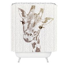 Belle13 The Intellectual Giraffe Shower Curtain | DENY Designs Home Accessories