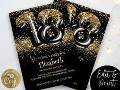 18th Birthday Invitation Plus Mobile Editable Template Black Gold Glitter Glam Invite Party Digital Download RB15 Invitation Card Design, Invitation Cards, Invites, Printable Invitations, Birthday Party Invitations, 18th Birthday Party, Gold Glitter, Types Of Printer, Party Planning