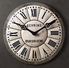 5 Foot French Tower Clock - Restoration Hardware (via Big Clocks, Cool Clocks, Huge Clock, Tower Clock, French Clock, Vintage Industrial Decor, Industrial Style, Restoration Hardware, Accent Decor