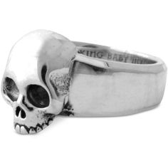 King Baby Men's Hamlet Skull Ring in Sterling Silver ($170) ❤ liked on Polyvore featuring men's fashion, men's jewelry, men's rings, silver, mens rings, mens sterling silver rings, mens watches jewelry, mens sterling silver skull rings and mens skull rings
