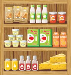 Supermarket. Shelfs with Food #GraphicRiver Vector illustration. It is created in the CorelDraw program. It is edited in the Adobe Illustrator program. It is kept in illustrator eps version 8. The file can be edited in any program of vector graphics. The size of the file can be increased till any size without quality loss. In this file there are no gradiyentny fillings and mesh. File full-color. The illustration can be used both entirely, and in parts. Created: 22October13…