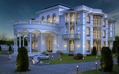 Luxury Villa Exterior Design on Behance- if we can have fairly tall ceilings still I think this is it, would luv to see diff variations and angles. Classic House Design, Modern Villa Design, Design Exterior, Facade Design, Design Design, Design Ideas, Dream Mansion, Mansion Interior, Luxury Homes Dream Houses