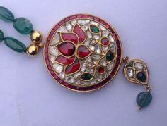 Vintage Diamond 22 K gold Emerald beads necklace by TRIBALEXPORT
