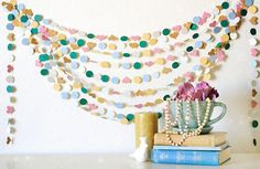 Paper Garland to hang behind the head table or dessert table or even the candy bar... just punch the shapes out of paper and sew through with coordinating thread on the sewing machine!