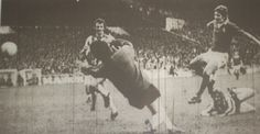 12 October 1974 Mick Buckley scores during the 2-2 draw with Sheffield United at Bramall Lane