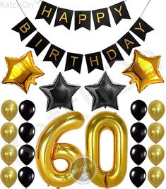 KatchOn Birthday Party Decorations KIT - Happy Birthday Black Banner, Gold Number Balloons,Gold and Black, Number Perfect 60 Years Old Party Supplies,Free Bday Printable Checklist Happy Birthday Black, Happy Birthday Signs, Happy Birthday Balloons, Happy Birthday Parties, 40th Birthday, Women Birthday, Black And Gold Balloons, Gold Number Balloons, 60th Birthday Party Decorations
