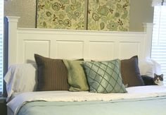 DIY Headboard Made from Kitchen Cabinet Doors — Remodelaholic NOTE: Interesting use of old cabinet doors: Make Your Own Headboard, Headboard From Old Door, White Headboard, Panel Headboard, Custom Headboard, Velvet Headboard, King Headboard, Wood Headboard, Old Cabinets