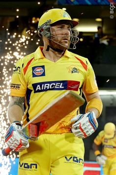Opening batsman Brendan McCullum walking out onto the field for the second innings during The Final of the Oppo Champions League Twenty20 between the Kolkata Knight Riders and the Chennai Super Kings held at the M. Chinnaswamy Stadium, Bengaluru, India on the 4th October 2014.