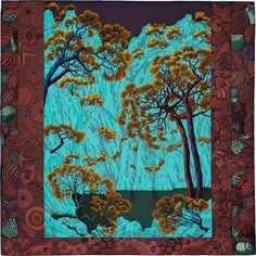 "36"" x 36"" scarf Hermès | Sieste au Paradis by Aline Honore AW2015 CW 06 aubergine/turquoise/acajou"