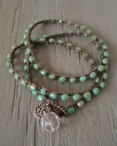 Rustic turquoise green crochet 3x wrap bracelet by slashKnots, $42.00