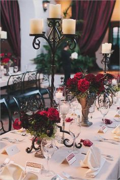 pretty wedding centerpiece idea; photo: Jake and Necia Photography via Wedding Chicks