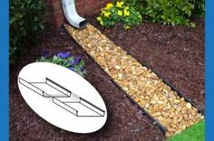 Rock Bed Downspout - because I'm tired of my mulch getting washed away.