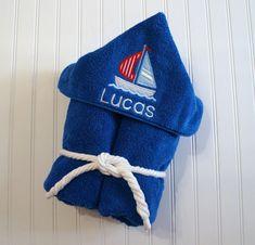 Boat Hooded Towel, Sail Boat Towel, Hooded Beach Towel, Sailboat Bath Decor,