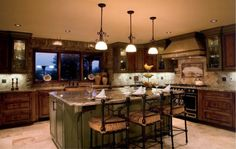 Kitchen Design, Luxurious Tuscany Kitchens Design With Elegant Green Kitchen Island With Granite Countertop Also Classic Kitchen Stool With ...